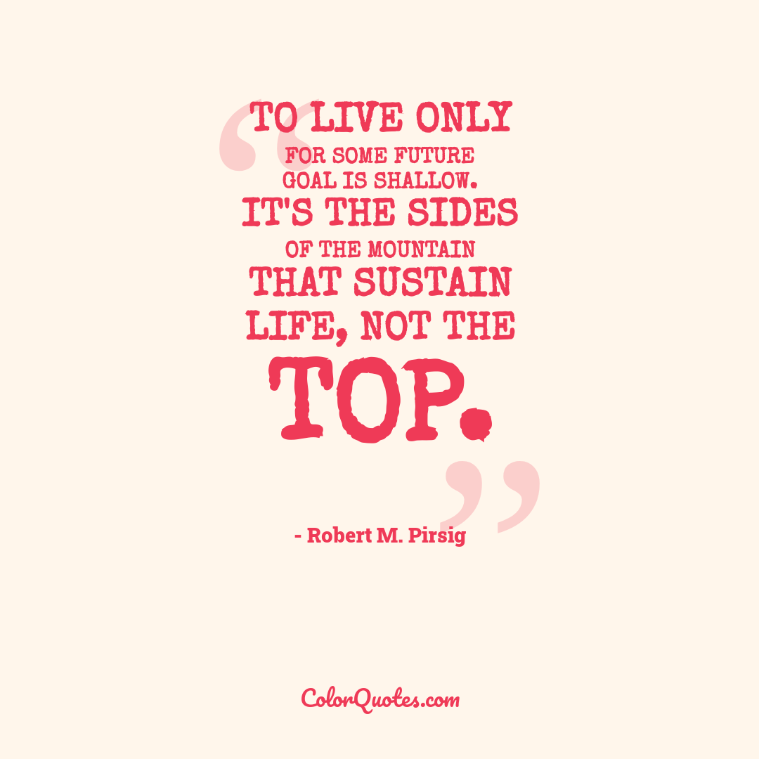 To live only for some future goal is shallow. It's the sides of the mountain that sustain life, not the top.
