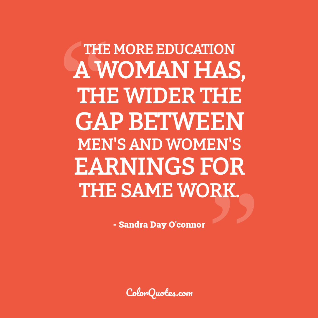 The more education a woman has, the wider the gap between men's and women's earnings for the same work.