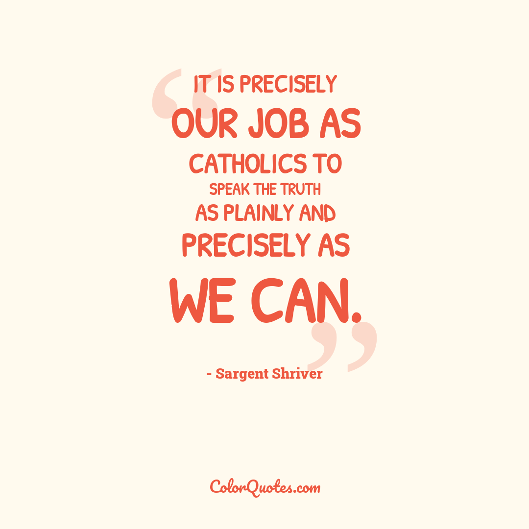 It is precisely our job as Catholics to speak the truth as plainly and precisely as we can.