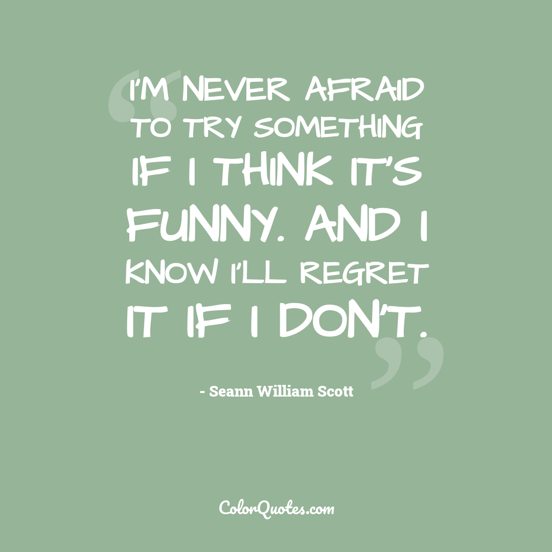 I'm never afraid to try something if I think it's funny. And I know I'll regret it if I don't.