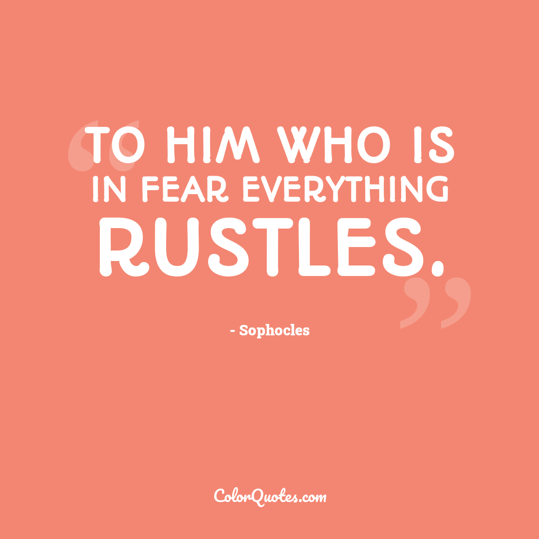 To him who is in fear everything rustles.