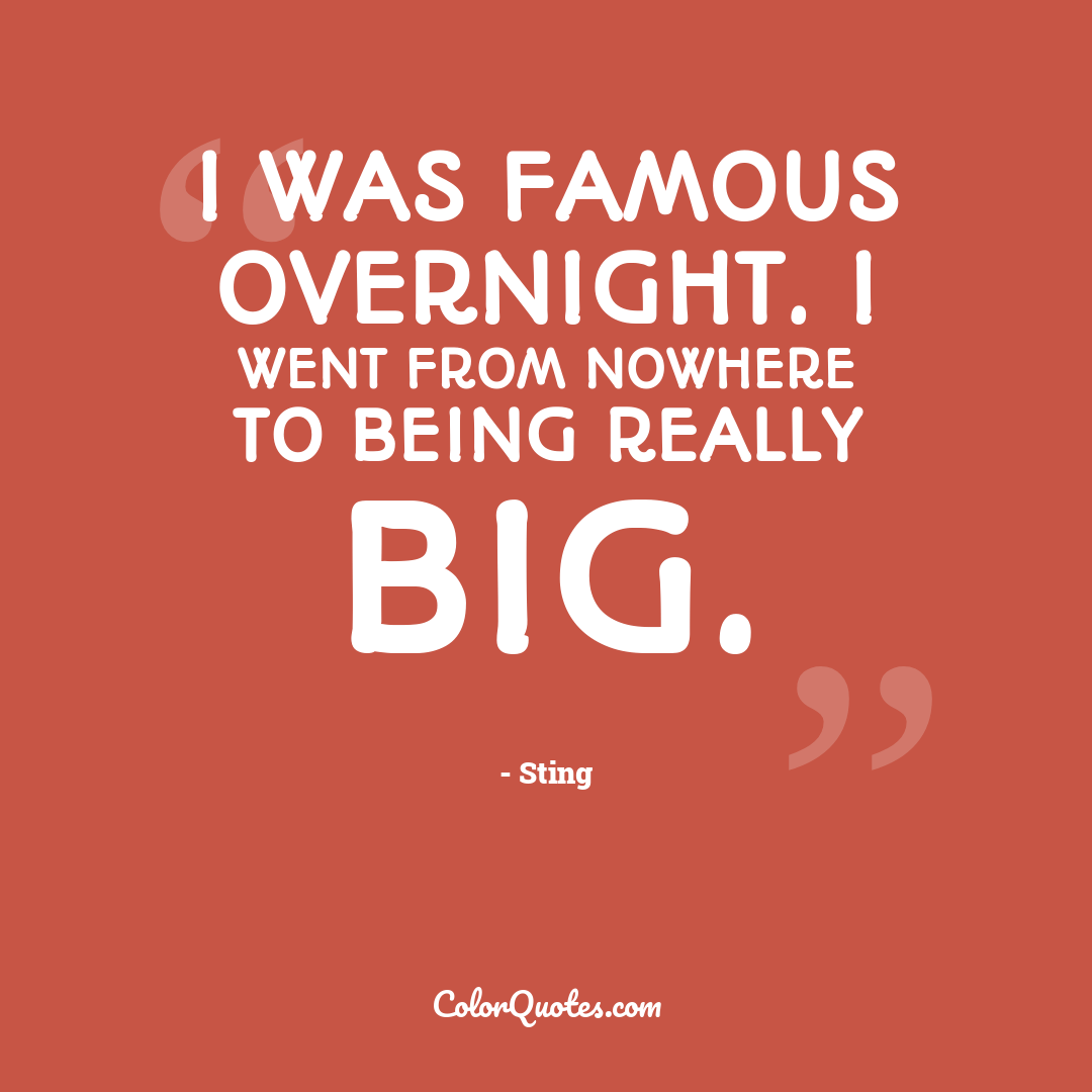 I was famous overnight. I went from nowhere to being really big.