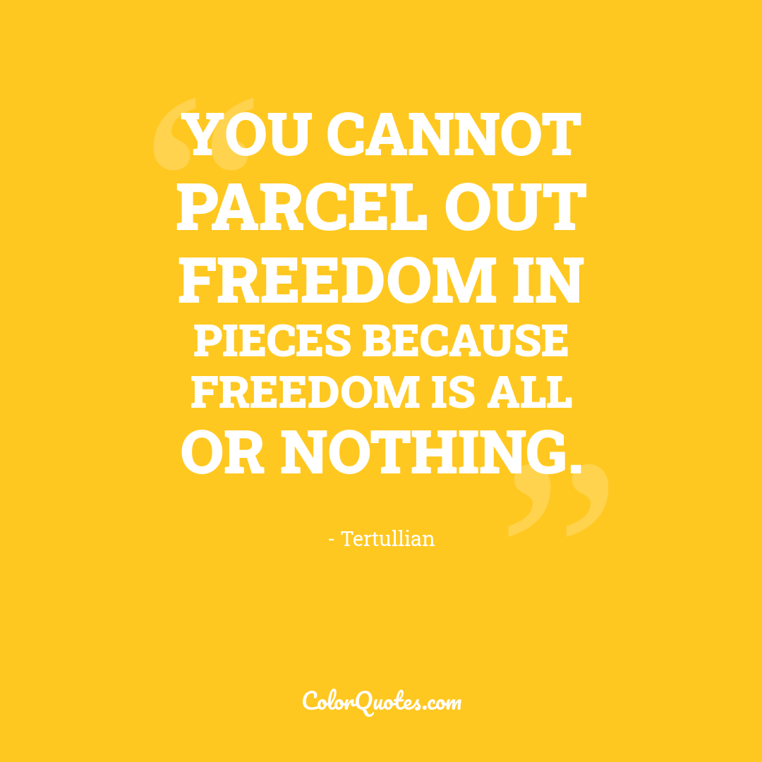 You cannot parcel out freedom in pieces because freedom is all or nothing.
