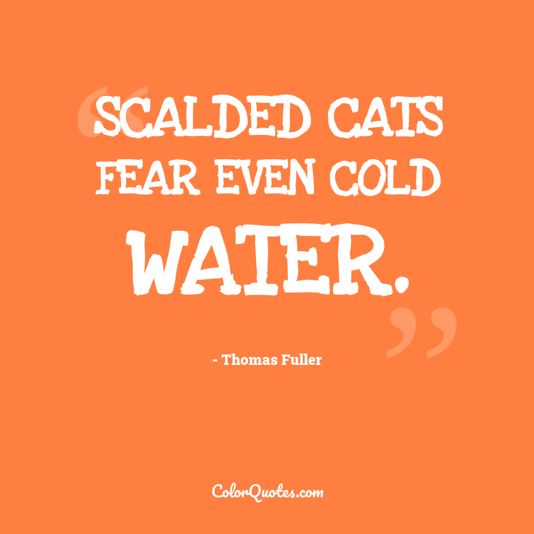 Scalded cats fear even cold water.