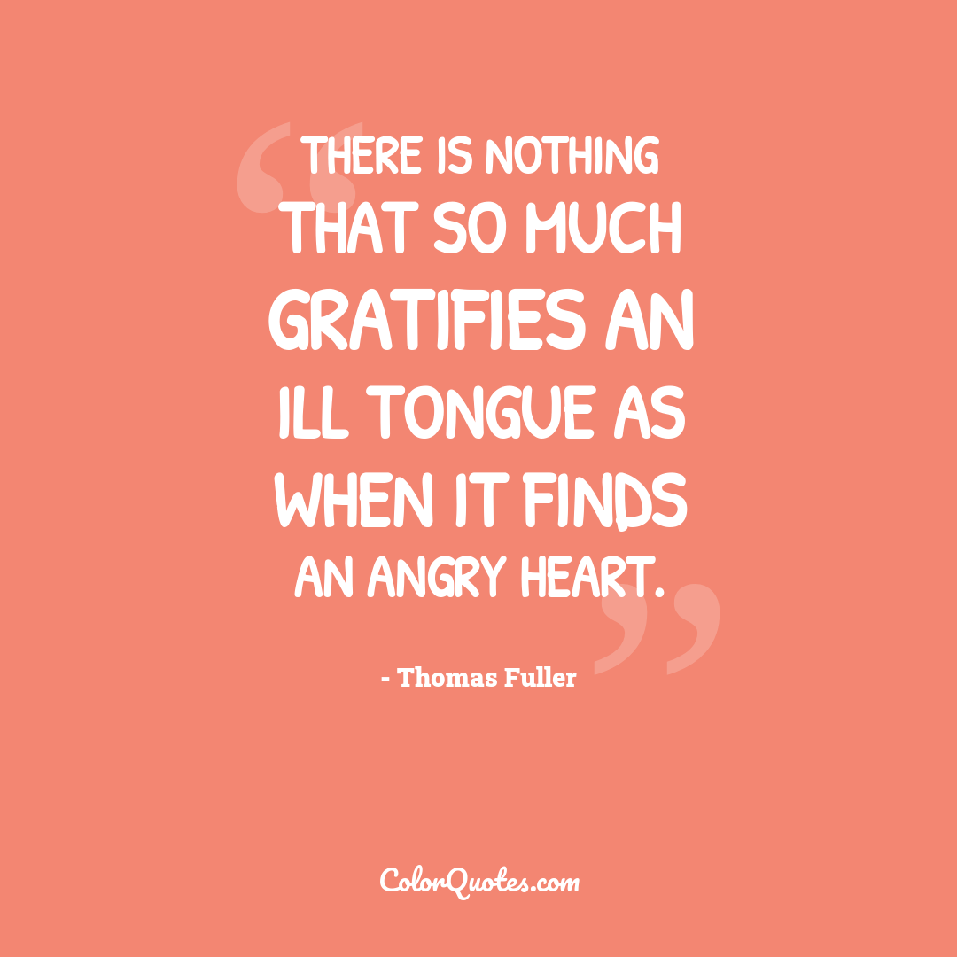 There is nothing that so much gratifies an ill tongue as when it finds an angry heart.