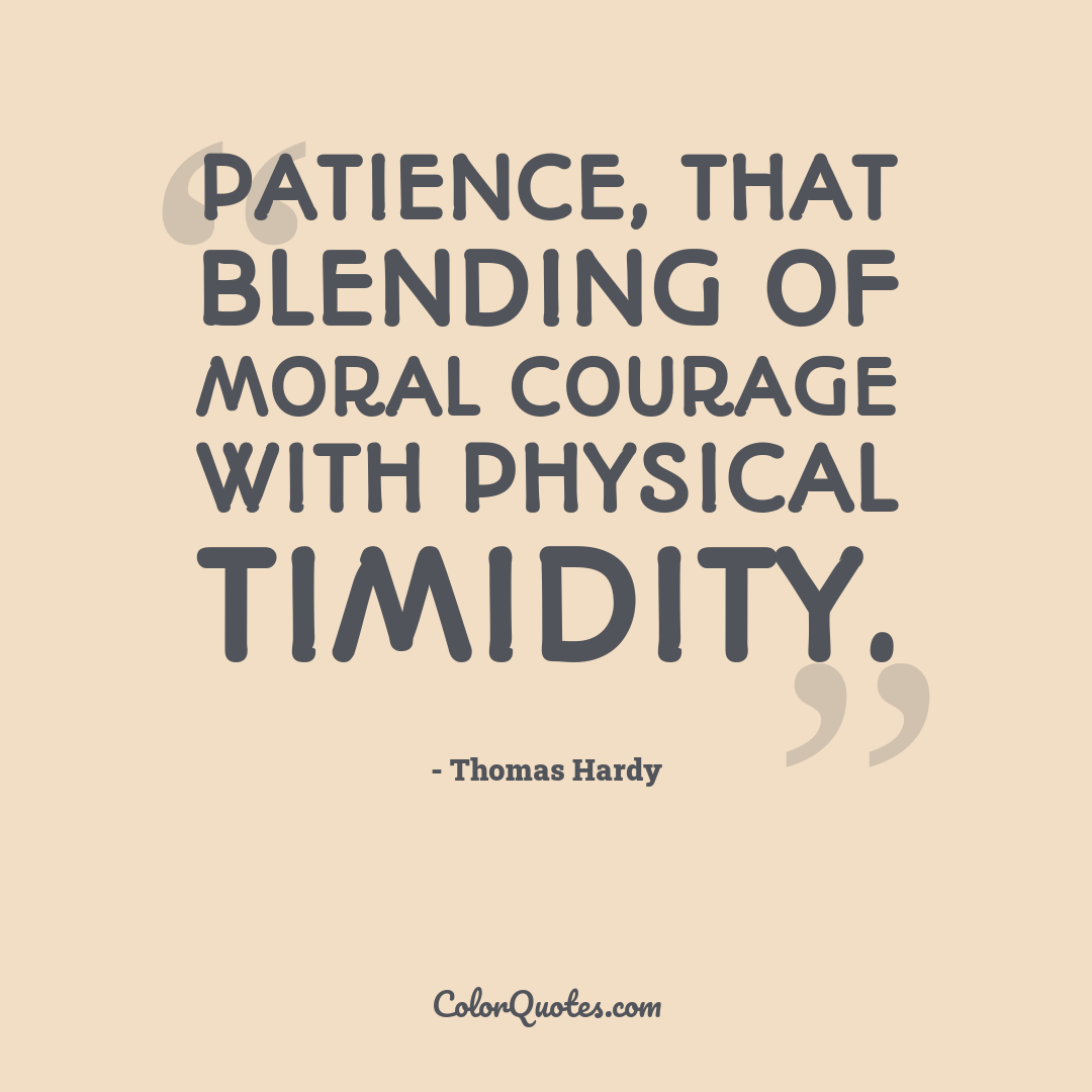 Patience, that blending of moral courage with physical timidity.