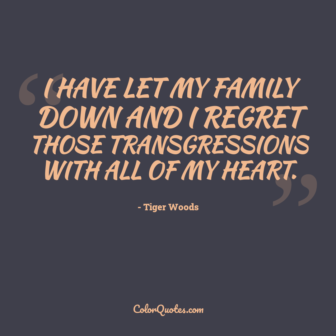 I have let my family down and I regret those transgressions with all of my heart.