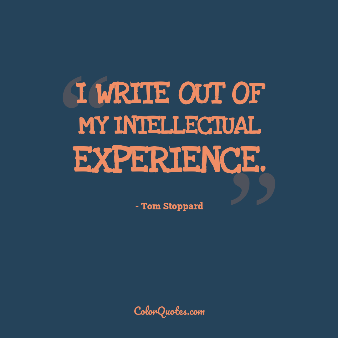 I write out of my intellectual experience.