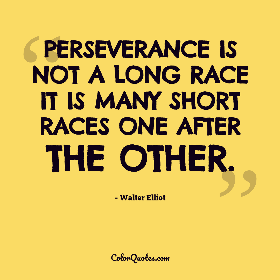 Perseverance is not a long race it is many short races one after the other.