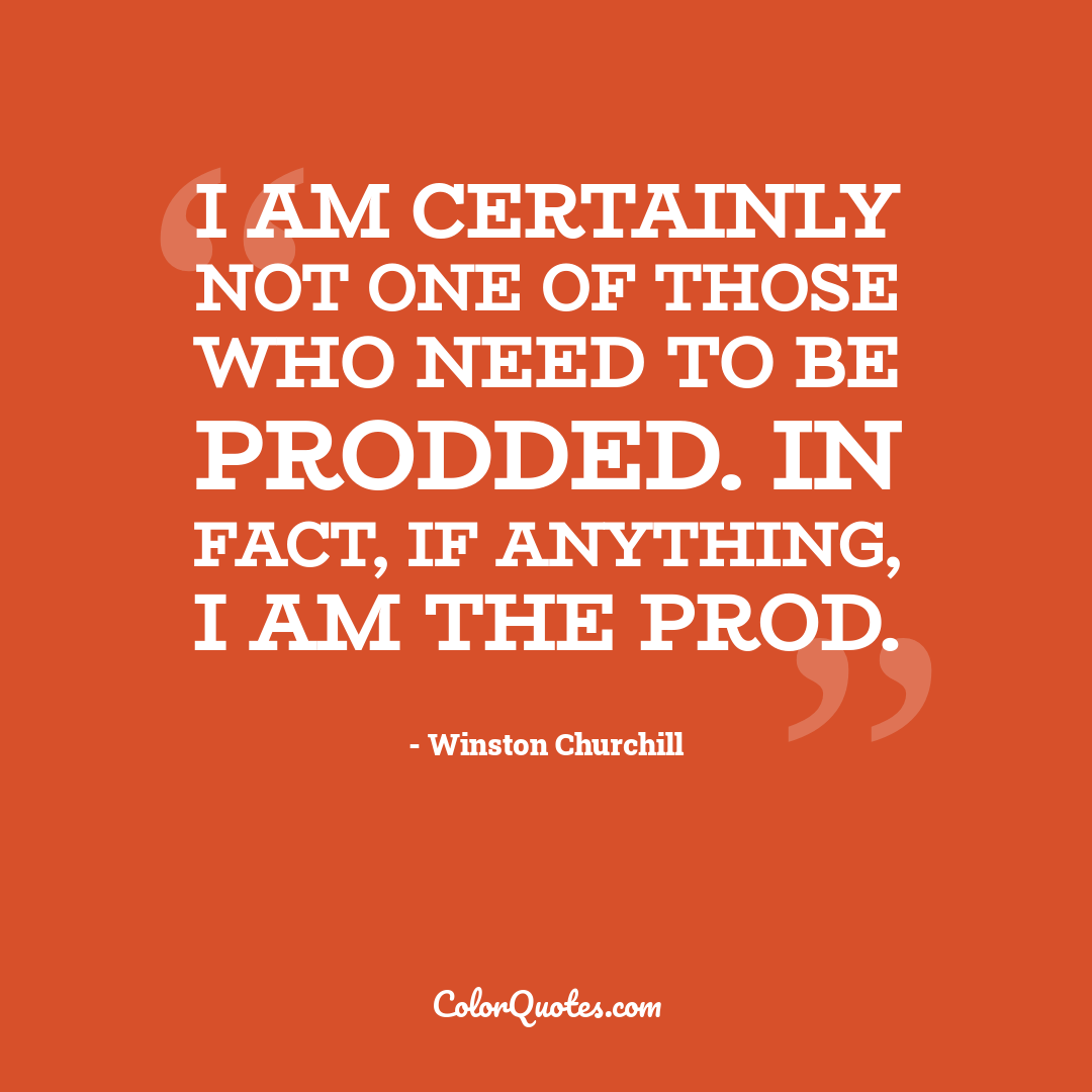I am certainly not one of those who need to be prodded. In fact, if anything, I am the prod.